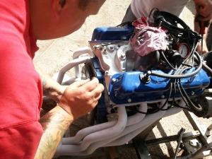 Flywheel being fitted