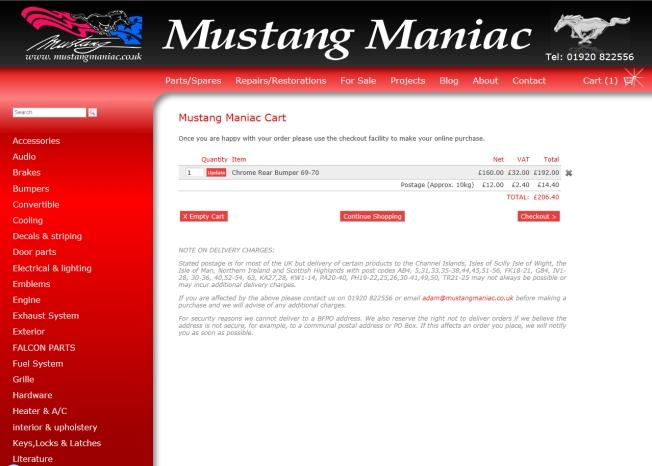 webpage - cart