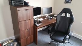desk and cabinets
