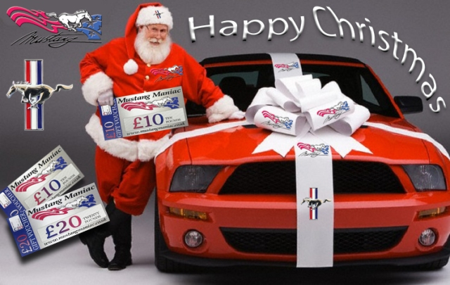 Santa Claus Delivering New Ford Mustang Convertible --- Image by © Car Culture/Corbis